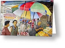Sidewalk Vendors Greeting Card