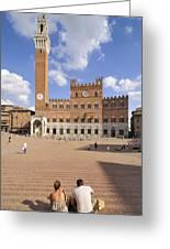 Siena Italy - Piazza Del Campo With Palazzo Pubblico Greeting Card