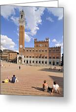 Siena Piazza Del Campo With Palazzo Pubblico Greeting Card