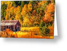 Sierra Nevada Aspen Fall Colors With Rustic Barn Greeting Card by Scott McGuire