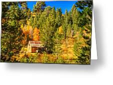 Sierra Nevada Rustic Americana Barn With Aspen Fall Color Greeting Card