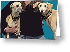 Sighthounds Greeting Card by Kris Hackleman