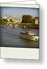 Sightseeings On The River Seine In Paris Greeting Card