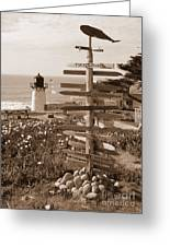 Sign At Point Montara Lighthouse - Sepia Greeting Card
