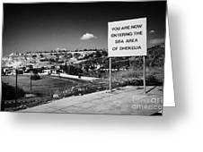 sign overlooking pyla and turkish controlled territory marking entrance of SBA Sovereign Base area Greeting Card