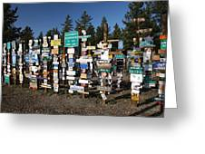 Sign Posts Forest In Watson Lake Yukon Greeting Card