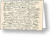Signatures Attached To The American Declaration Of Independence Of 1776 Greeting Card