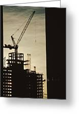 Silhouette Crane At A Skyscraper Greeting Card