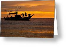 Silhouette Fisherman Boat Sunset Huahin Thailand Greeting Card by Arthit Somsakul