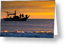 Silhouette Fisherman On Boat In Sunset Huahin Greeting Card by Arthit Somsakul
