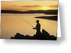 Silhouette Of A Fisherman Fishing On Greeting Card