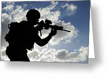 Silhouette Of A Soldier Greeting Card