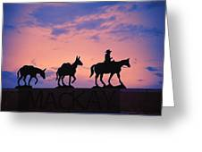 Silhouette Of Donkey Train Statue Greeting Card