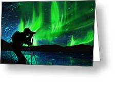 Silhouette Of Photographer Shooting Stars Greeting Card