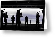 Silhouette Of Sailors In The Hangar Bay Greeting Card