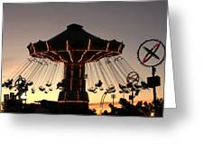 Silhouetted Amusement Ride Greeting Card
