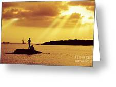 Silhouettes On The Beach Greeting Card
