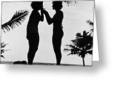 Silhouettes On The Shore Greeting Card