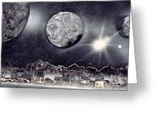 Silver And Black Space City Greeting Card