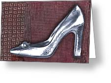 Silver Crocodile Pump Greeting Card