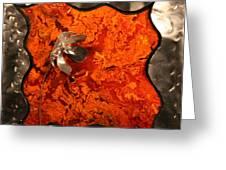 Silver Metal Flower On Orange Greeting Card