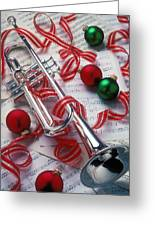 Silver Trumper And Christmas Ornaments Greeting Card