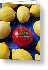 Single Tomato With Lemons Greeting Card