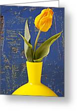 Single Yellow Tulip In Yellow Vase Greeting Card