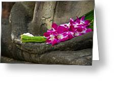 Sitting Buddha In Meditation Position With Fresh Orchid Flowers Greeting Card