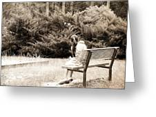 Sitting On The Bench Greeting Card