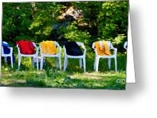 Six Summer Chairs Greeting Card