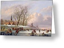 Skaters On A Frozen River Before Windmills Greeting Card