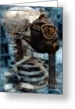 Skeleton In Gas Mask Greeting Card