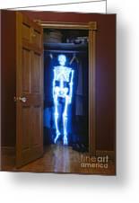 Skeleton In The Closet Greeting Card by Tony Cordoza