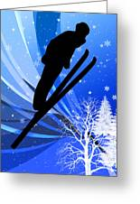 Ski Jumping In The Snow Greeting Card