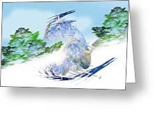 Ski Sledding Blue Polar Bear Greeting Card