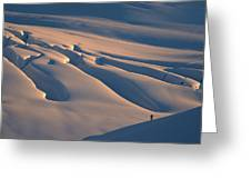 Skier And Crevasse Patterns At Sunset Greeting Card