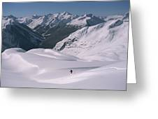 Skier Phil Atkinson Heads Down Mount Greeting Card