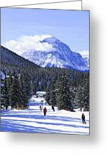 Skiing In Mountains Greeting Card by Elena Elisseeva