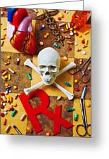 Skull And Bones With Medical Icons Greeting Card by Garry Gay