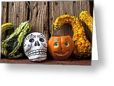 Skull And Jack-o-lantern Greeting Card