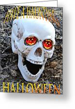Skull Halloween Card Greeting Card by Debra     Vatalaro