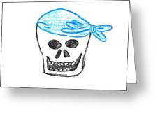 Skull In Blue Bandanna Greeting Card by Jeannie Atwater Jordan Allen