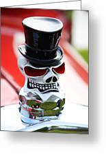 Skull With Top Hat Hood Ornament Greeting Card