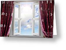 Sky View Through Open Window Greeting Card