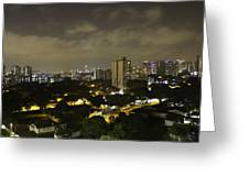 Skyline Of A Part Of Singapore At Night Greeting Card