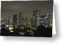 Skyline Of Singapore At Night As Seen From An Apartment Complex Greeting Card