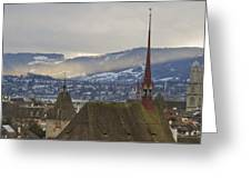Skyline Of Zurich From The University Greeting Card