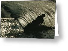 Slalom Waterskier Silhouette Greeting Card