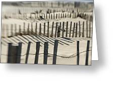 Slats Of Wooden Fence Throwing Shadows Greeting Card